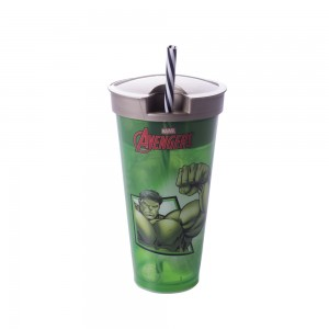 Imagem do produto - Copo com Canudo 2 em 1   Avengers - Hulk