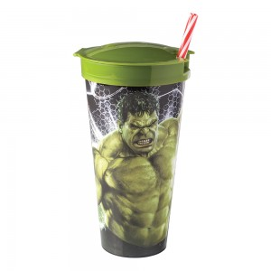 Imagem do produto - Copo de Plástico 540 ml com Compartimento e Canudo Avengers Hulk