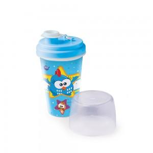 Imagem do produto - Mini Shakeira de Plástico 320 ml com Misturador Fechamento Rosca e Sobretampa Articulável  Galinha Pintadinha
