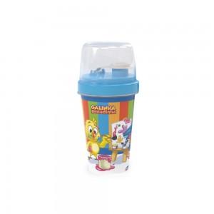 Imagem do produto - Mini Shakeira de Plástico 320 ml com Misturador, Fechamento Rosca e Sobretampa Articulável  Galinha Pintadinha