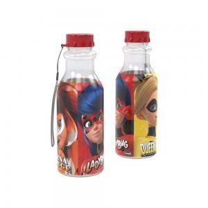 Imagem do produto - Garrafa de Plástico 500 ml com Tampa Rosca e Canudo Retrô Miraculous Ladybug