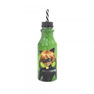 Imagem do produto - Garrafa de Plástico 500 ml com Tampa Rosca e Canudo Retrô Miraculous Cat Noir