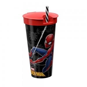 Imagem do produto - Copo de Plástico 540 ml com Compartimento e Canudo Homem Aranha