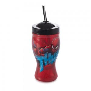 Imagem do produto - Copo de Plástico 660 ml com Formato de Taça e Canudo Homem Aranha