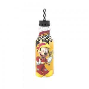 Imagem do produto - Garrafa de Plástico 500 ml com Tampa Rosca e Canudo Retrô Mickey Roadster Racers