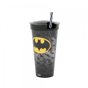 Imagem do produto - Copo de Plástico 540 ml com Compartimento e Canudo Batman