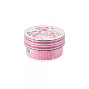 Imagem do produto - Caixa de Plástico Redonda Organizadora 420 ml com Tampa Encaixável Floral