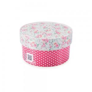Imagem do produto - Caixa de Plástico Redonda Organizadora 900 ml com Tampa Encaixável Floral