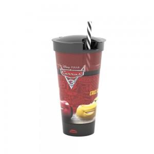 Imagem do produto - Copo de Plástico 540 ml com Compartimento e Canudo Carros