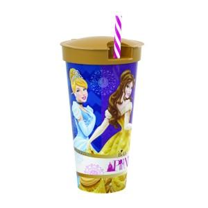 Imagem do produto - Copo de Plástico 540 ml com Compartimento e Canudo Princesas Colecionáveis