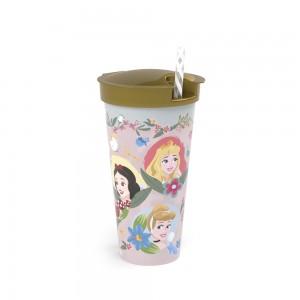 Imagem do produto - Copo de Plástico 540 ml com Compartimento e Canudo Princesas