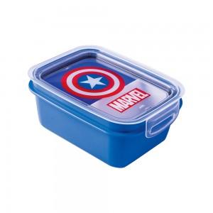 Imagem do produto - Marmita de Plástico 850 ml com Divisória Removível e Travas Laterais Avengers Capitão América