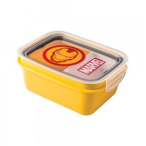 Imagem do produto - Marmita de Plástico 850 ml com Divisória Removível e Travas Laterais Avengers Homem de Ferro