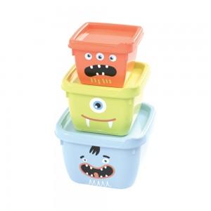 Imagem do produto - Conjunto de Potes de Plástico Quadrados Monstros Conect 3 unidades