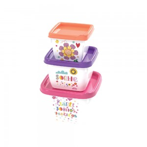 Imagem do produto - Conjunto de Potes de Plástico Quadrados Floral Conect 3 unidades