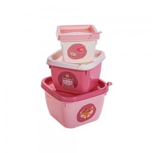 Imagem do produto - Conjunto de Potes de Plástico Quadrados Bichinhos Petit Conect 3 unidades