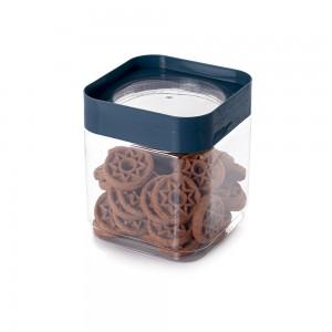 Imagem do produto - Pote de Plástico Quadrado 1,28 L Tampa Rosca Plug Decora Azul