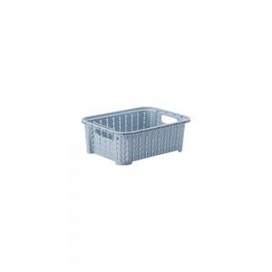 Imagem do produto - Cesta de Plástico Retangular Organizadora 990 ml Empilhável Trama Azul