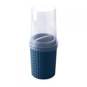 Imagem do produto - Porta Escovas e Creme Dental de Plástico com Tampa Trama Azul