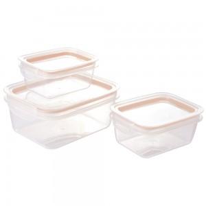 Imagem do produto - Conjunto de Potes de Plástico Retangulares Herméticos Trava Mais 3 Unidades  Rosa