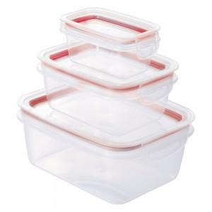 Imagem do produto - Conjunto de Potes de Plástico Retangulares Herméticos Trava Mais 3 Unidades Vermelho