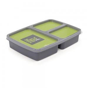 Imagem do produto - Pote de Plástico Retangular 1 L com 3 Divisórias Fitness Clic