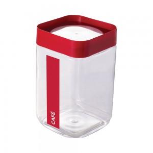 Imagem do produto - Pote de Plástico Quadrado 2 L para Café Tampa Rosca Plug Direcionado