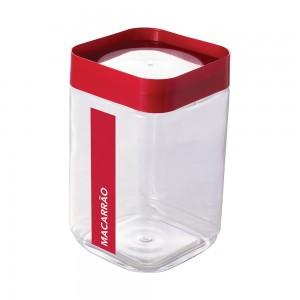 Imagem do produto - Pote de Plástico Quadrado 2 L para Macarrão Tampa Rosca Plug Direcionado