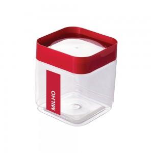 Imagem do produto - Pote de Plástico Quadrado 1,28 L para Pipoca Tampa Rosca Plug Direcionado