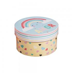 Imagem do produto - Caixa de Plástico Redonda 1,2 L com Tampa Encaixável Arco Íris