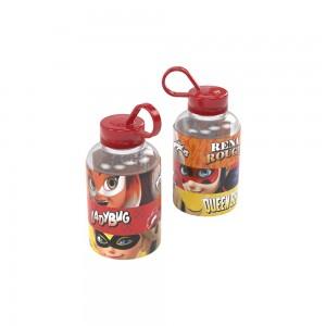 Imagem do produto - Garrafa de Plástico 280 ml com Tampa Rosca e Pegador Fixo Cilíndrica Miraculous 280ml
