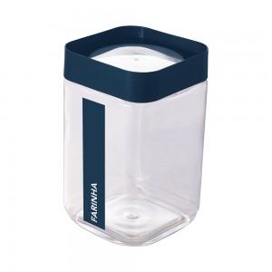 Imagem do produto - Pote de Plástico Quadrado 2 L para Farinha Tampa Rosca Plug Direcionado