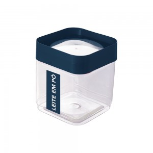 Imagem do produto - Pote de Plástico Quadrado 1,28 L para Leite em Pó Tampa Rosca Plug Direcionado