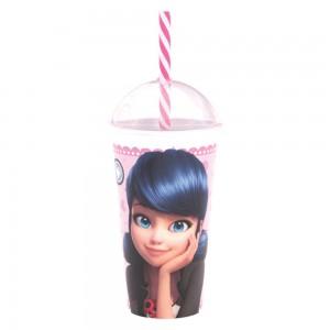 Imagem do produto - Copo Shake de Plástico 500 ml com Tampa e Canudo Marinette