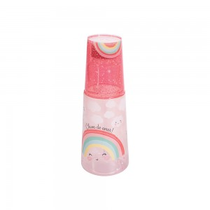 Imagem do produto - Garrafa Moringa de Plástico 960 ml com Copo Arco Íris