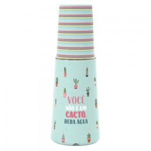 Imagem do produto - Garrafa Moringa de Plástico 960 ml com Copo Cacto
