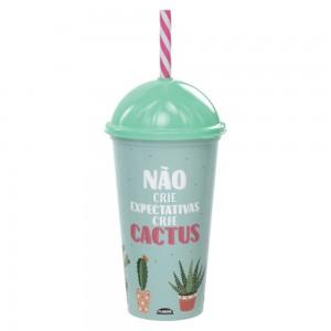 Imagem do produto - Copo Shake de Plástico 500 ml com Tampa e Canudo Cacto