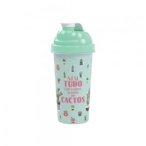 Imagem do produto - Shakeira de Plástico 580 ml com Tampa Rosca e Misturador Cacto
