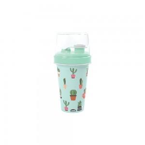Imagem do produto - Mini Shakeira de Plástico 320 ml com Misturador, Fechamento Rosca e Sobretampa Articulável Cacto