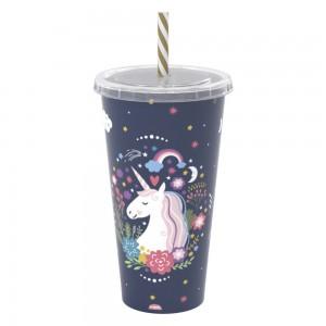 Imagem do produto - Copo Refrigerante de Plástico 700 ml com Tampa e Canudo Unicornio