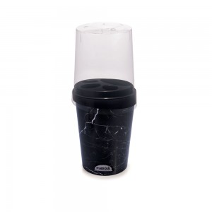 Imagem do produto - Porta Escovas e Creme Dental de Plástico com Tampa Mármore Preto
