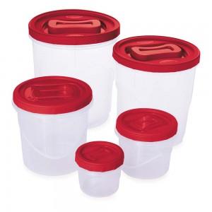 Imagem do produto - Conjunto de Potes de Plástico Redondos para Mantimentos Rosca 5 Unidades Vermelho