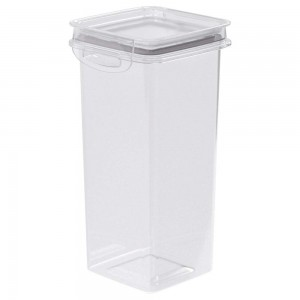 Imagem do produto - Pote de Plástico Quadrado 1,2 L Hermético Trava Mais Cinza