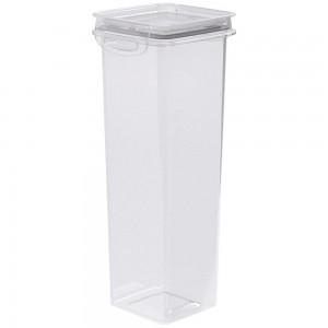 Imagem do produto - Pote de Plástico Quadrado 1,6 L Hermético Trava Mais Cinza