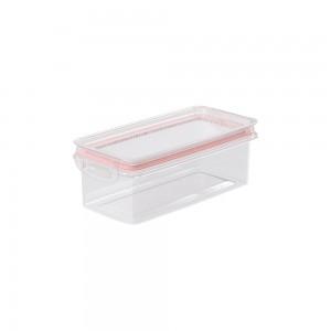 Imagem do produto - Pote de Plástico Retangular 875 ml Hermético Trava Mais Rosa