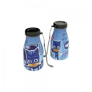 Imagem do produto - Garrafa de Plástico com Tampa Rosca e Pegador Fixo Cilíndrica Pj Masks Menino Gato 390 ml