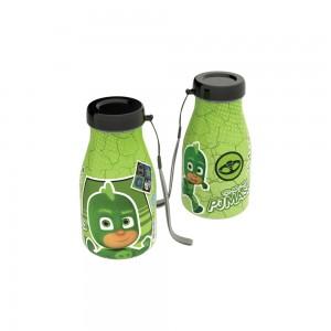 Imagem do produto - Garrafa de Plástico com Tampa Rosca e Pegador Fixo Cilíndrica Pj Masks Lagartixo 390ml