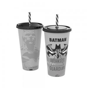 Imagem do produto - Copo Refrigerante de Plástico 700 ml com Tampa e Canudo Batman