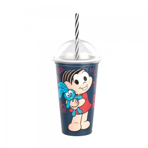 Imagem do produto - Copo Shake de Plástico 500 ml com Tampa e Canudo Mônica Laços