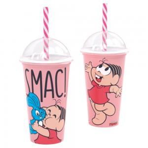 Imagem do produto - Copo Shake de Plástico 500 ml com Tampa e Canudo Mônica